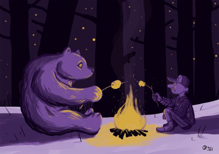 Ours et chasseur autour d'un feu de camp