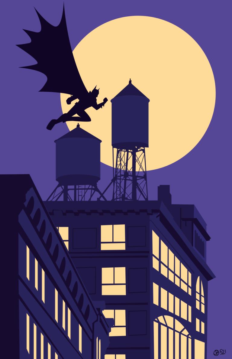 Batman au-dessus de Gotham City
